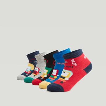 جوارب بألوان متنوعة بطول الكاحل - طقم من 5 أزواج