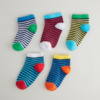 Set of 5 - Striped Ankle Length Socks with Cuffed Hem