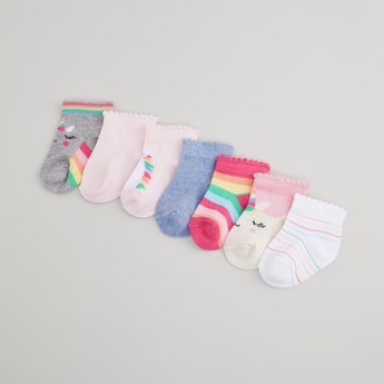 Set of 7 - Printed Ankle Length Socks