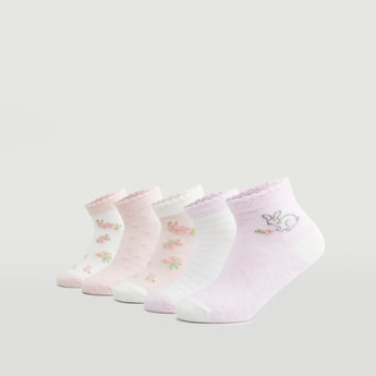 Set of 5 - Assorted Ankle Length Socks with Scalloped Hem