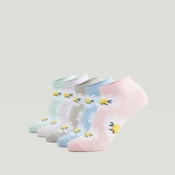 Set of 5 - Floral Print Ankle Length Socks