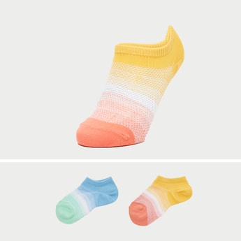Set of 2 - Textured Ankle Length Socks with Cuffed Hem