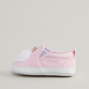 Printed Applique Slip On Sneakers