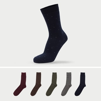 Set of 5- Printed Crew Length Socks with Cuffed Hem