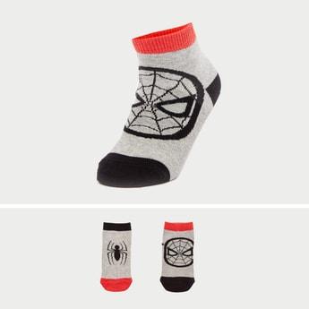 Set of 2 - Spider-Man Print Ankle Length Socks with Cuffed Hem