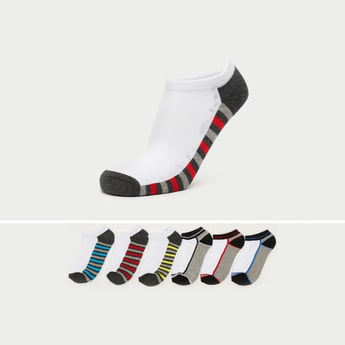 Pack of 6 - Textured Ankle Length Socks with Cuffed Hem