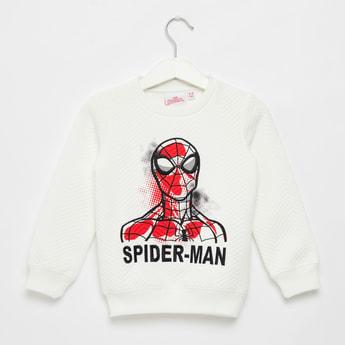 Spider-Man Print Jacquard Round Neck Sweatshirt with Long Sleeves