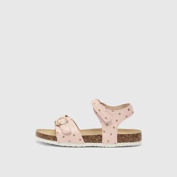 Spot Print Sandals with Hook and Loop Closure