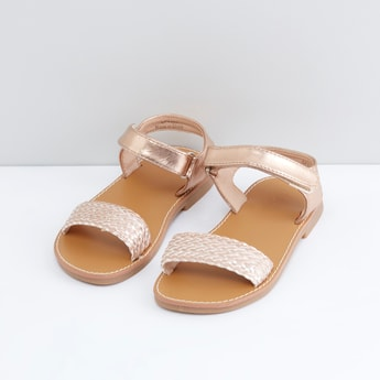 Weaved Detail Sandals with Hook and Loop Closure