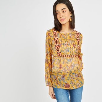 Floral Print Top with Long Sleeves and Tape Detail