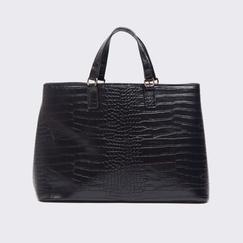 Reptilian Textured Tote Bag with Adjustable Sling Strap
