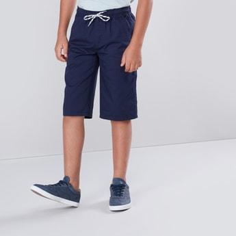 Plain Shorts with Pocket Detail and Drawstring Closure