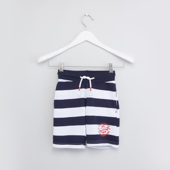 Striped Shorts with Drawstring and Pocket Detail