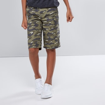 Printed Shorts with Pocket Detail and Button Closure