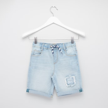 Distressed Denim Shorts with Pocket Detail and Drawstring