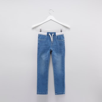 Embossed Denim Pants with 4-Pockets and Drawstring Closure