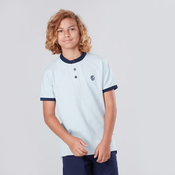Printed Henley Collared T-shirt with Short Sleeves