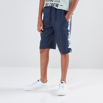 Printed Side Tape Detail Shorts with Drawstring