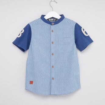 Striped Mandarin Collared Shirt with Short Sleeves