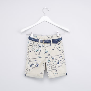 Map Printed Woven Shorts with Belt