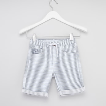Striped Shorts with 4-Pocket and Button Closure