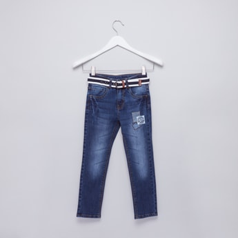 Applique Detail Full Length Jeans with Striped Belt