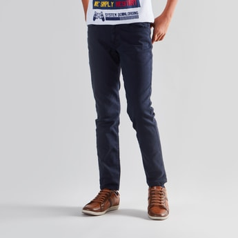 Plain Jeans with 5-Pockets and Button Closure