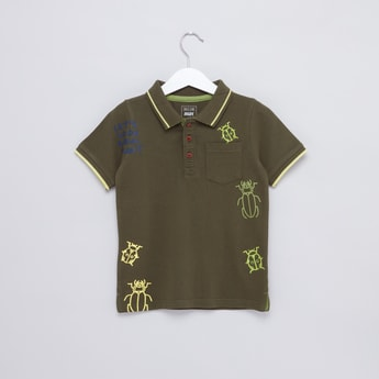 Insect Printed Polo Neck Short Sleeves T-Shirt