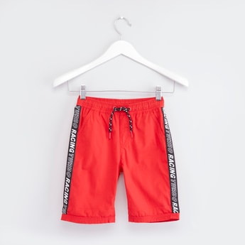 Printed Shorts with Drawstring Closure and Tape Detail