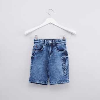 Textured Denim Shorts with Pocket Detail and Loops