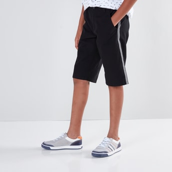 Solid Shorts with Tape and Pocket Detail