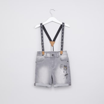 Printed Shorts with Pocket Detail and Suspenders