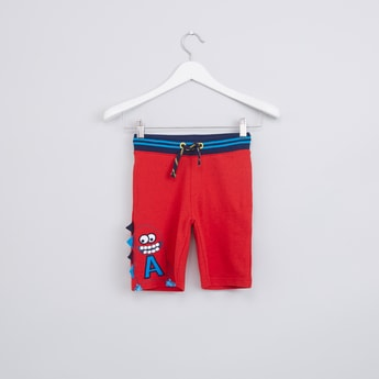 3D Monster Applique Detail Shorts with Drawstring