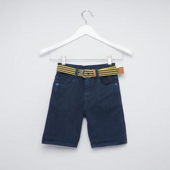 Pocket Detail Shorts with Striped Belt