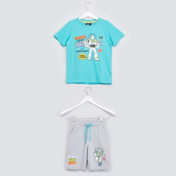 Toy Story Printed T-shirt with Pocket Detail Shorts