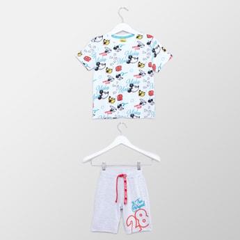 Mickey Mouse Printed T-shirt and Drawstring Shorts Set