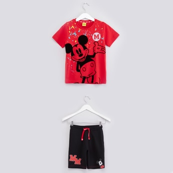 Mickey Mouse Printed T-shirt with Drawstring Shorts