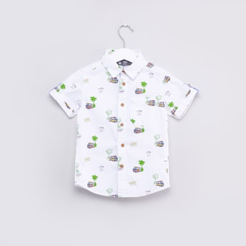 Printed Collared Shirt with Roll-Tab Short Sleeves