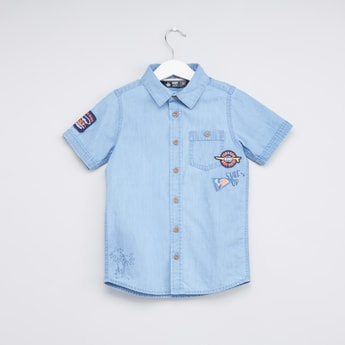 Applique Detail Shirt with Short Sleeves and Chest Pocket Detail