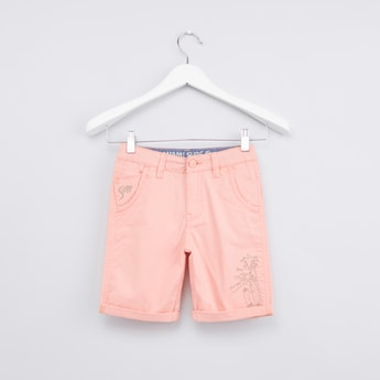 Embroidered Pocket Detail Shorts with Belt Loops and Turn Up Hem