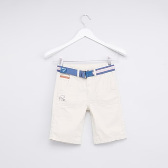 Solid Shorts with Embroidered Belt