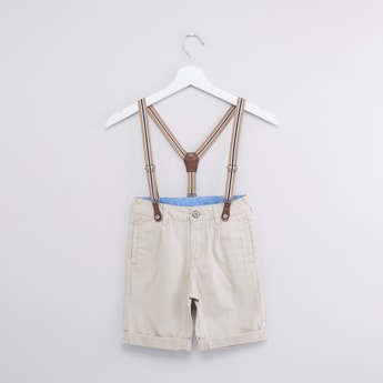 Pocket Detail Shorts with Suspenders and Belt Loops