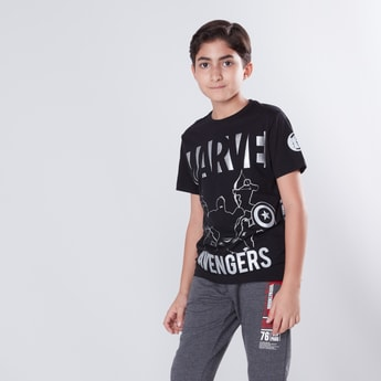 Marvel Printed Round Neck T-shirt with Short Sleeves