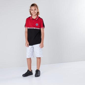 Printed Polo Collar T-shirt with Short Sleeves