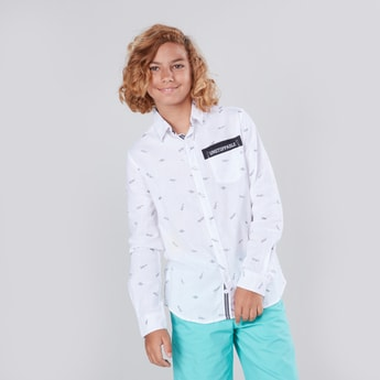 Printed Collared Shirt with Long Sleeves and Patch Pocket