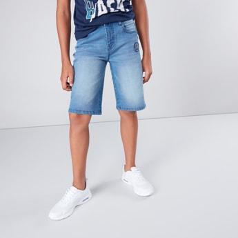 Side Striped Denim Shorts with Pocket Detail