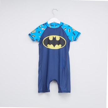 بدلة سباحة بأكمام مغايرة وسحّاب إغلاق وطبعات باتمان