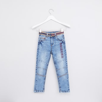 Embroidered Jeans with Belt