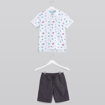 Printed Polo Neck T-shirt and Shorts with Drawstring