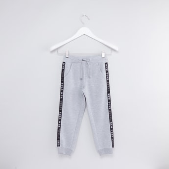 Knitted Jog Pants with Side Tape Detail and Drawstring
